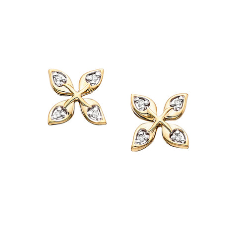 10 Karat Yellow Gold Diamond Flower Earrings - Victoria's Jewelry