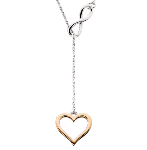 Sterling Silver with Rose Plating  Infinity & Heart Lariat Necklace - Oak Ridge Jewelers