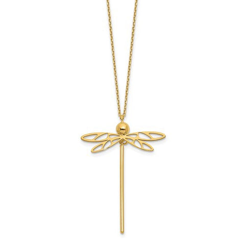 14 Karat Yellow Gold Dragonfly Necklace - Oak Ridge Jewelers
