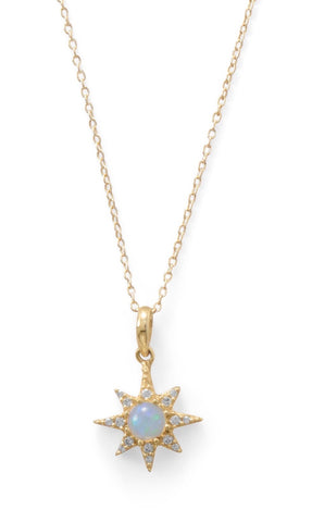 "Sterling silver 14kt gold-plated ""Opal"" CZ necklace - Victoria's Jewelry"