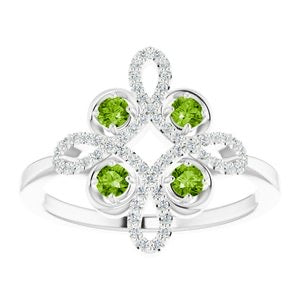 "Unique ""clover"" Peridot & Diamond ring - Victoria's Jewelry"