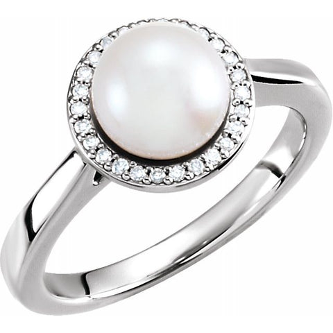Pearl & Diamond halo ring - Victoria's Jewelry