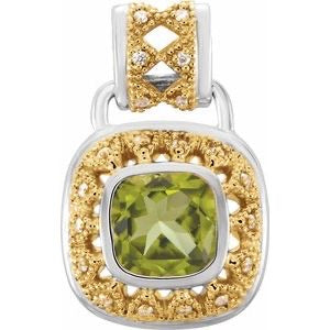 Sterling & gold Peridot & Diamond pendant - Oak Ridge Jewelers