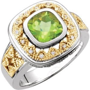 Peridot & Diamond -gold & sterling ring - Victoria's Jewelry