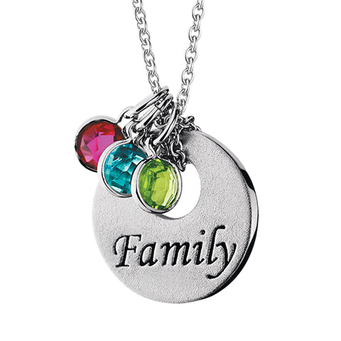 Sterling Silver Mommy Chic Family Disc Necklace - Victoria's Jewelry