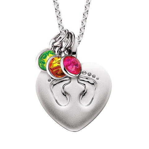 Sterling Silver Mommy Chic Heart Shape with Footprints Necklace