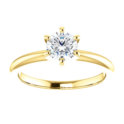 14 Karat Yellow Gold Round Brilliant Diamond Solitaire Ring - Oak Ridge Jewelers