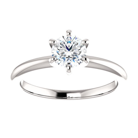 14 Karat White Gold Round Brilliant Diamond Solitaire Engagement Ring - Victoria's Jewelry