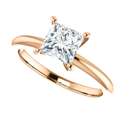 14 Karat Rose Gold Princess Cut Solitaire Engagement Ring - Victoria's Jewelry