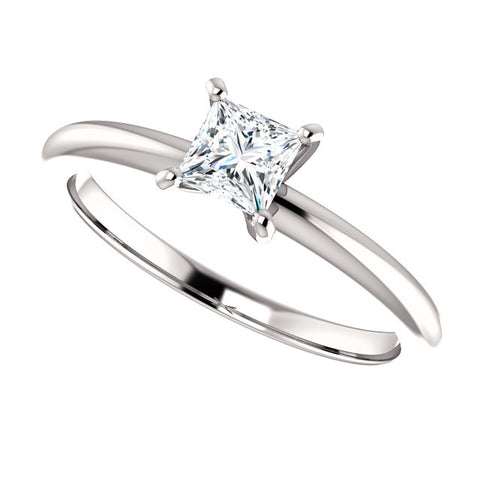 14 Karat White Gold Princess Cut Diamond Solitaire Engagement Ring - Victoria's Jewelry