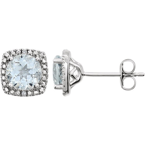 Sterling Silver Birthstone and .01 ctw Diamond Earrings - Oak Ridge Jewelers