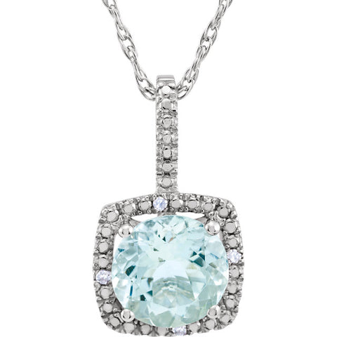 Sterling Silver Birthstone with .01 ctw Diamond Necklace - Victoria's Jewelry