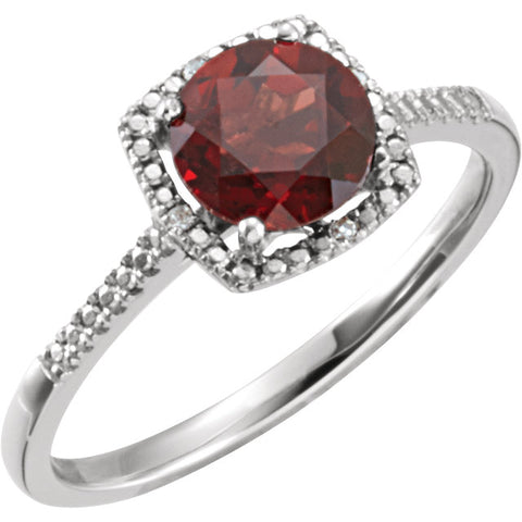 Sterling Silver Birthstone and .01 ctw Diamond Ring - Oak Ridge Jewelers