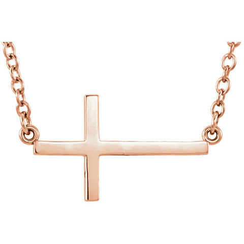 "14 Karat Gold Sideways Cross 16-18"" Necklace - Victoria's Jewelry"