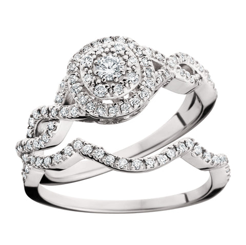 14 Karat White Gold Double Halo  Bridal Set - Victoria's Jewelry