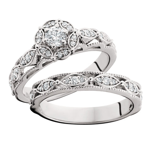 14 Karat White Gold Embellished Halo Bridal Set - Victoria's Jewelry