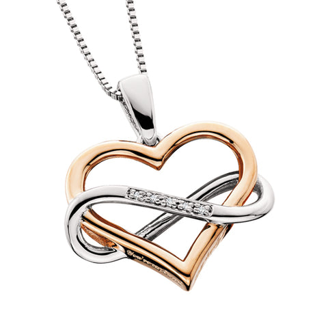 Sterling Silver with Rose Gold Diamond Heart with Infinity Necklace