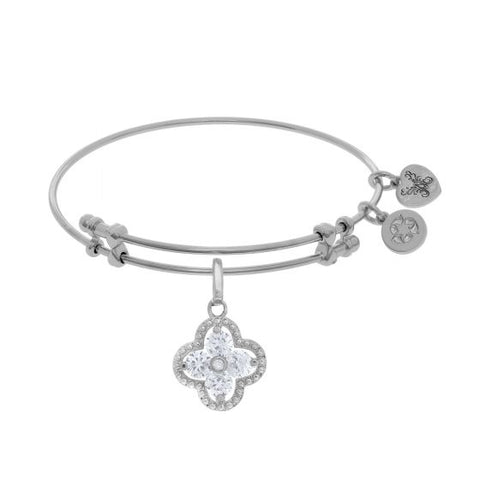 Angelica  White Cz  Flower Bangle - Victoria's Jewelry