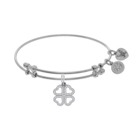 Brass with White Heart Clover Charm with White Cz On White Bangle - Victoria's Jewelry