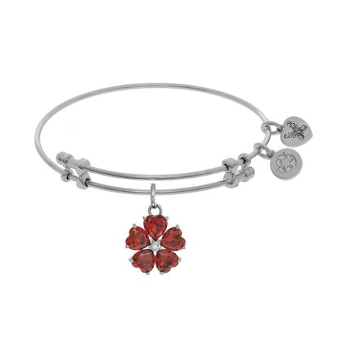 Angelica 5-Heart Flower Charm with Red Small Center White Cz On White Bangle - Victoria's Jewelry