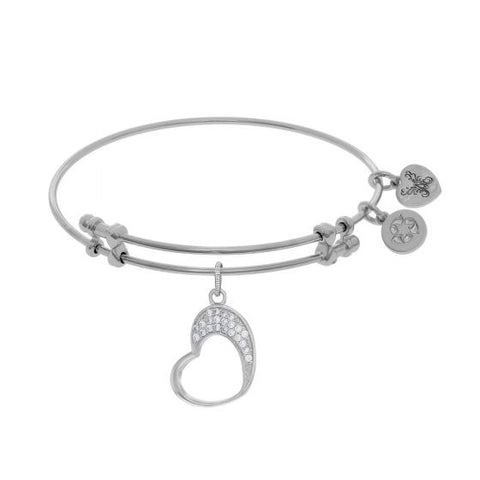 Brass with White Open Graduated Heart Charm with White Cz On White Bangle - Victoria's Jewelry