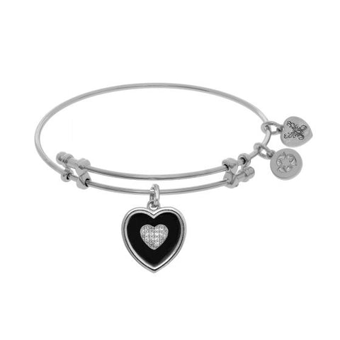 Angelica Black Onyx with Cz Heart Bangle - Victoria's Jewelry