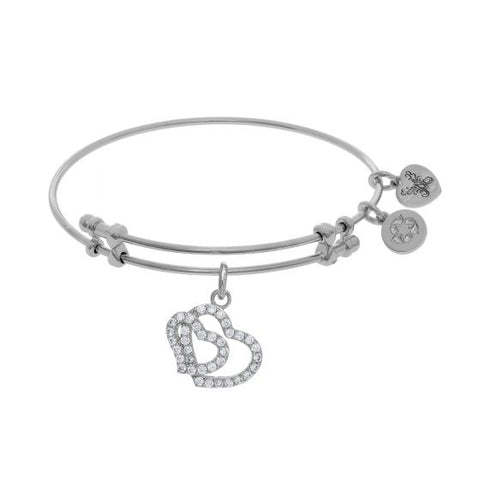 Angelica  Double Heart Charm with White Cz Bangle - Victoria's Jewelry
