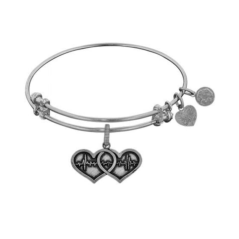 Angelica Two Hearts-One Heart Beat  Bangle - Victoria's Jewelry