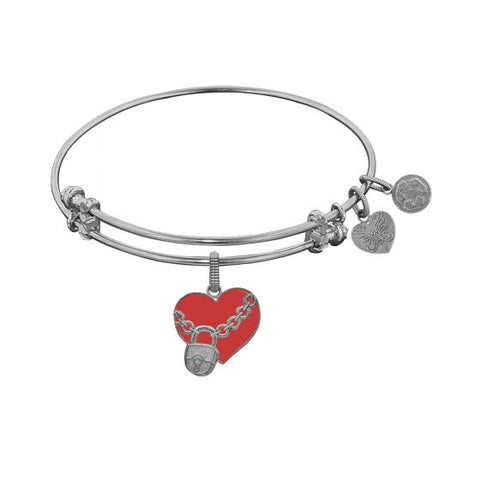 Angelica Heart with Lock Enamel  Bangle - Victoria's Jewelry