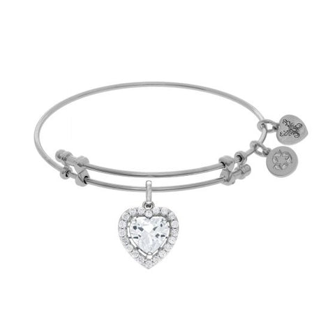 Angelica White CZ Heart Angelica Bangle - Oak Ridge Jewelers
