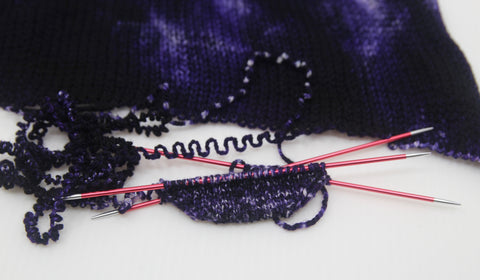 Knitting a sock project on DPNs with a Zen Yarn Garden Sock Blank