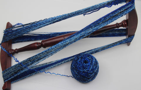 Winding a sock blank into a skein with a niddy noddy