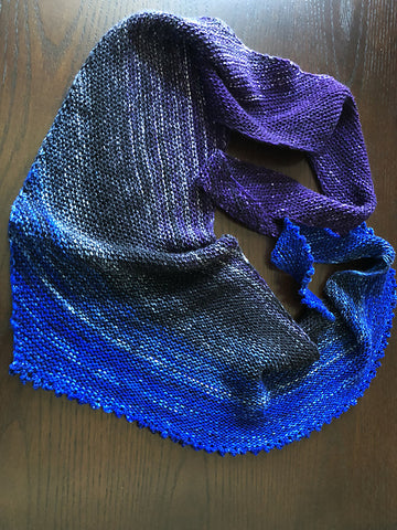 Finished Itty Bitty Picoty Shawl - free knitting pattern