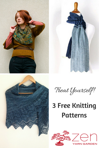 Free knitting patterns with Zen Yarn Garden hand-dyed yarn