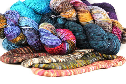Many skeins of hand dyed yarn from Zen Yarn Garden