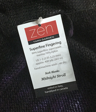 Zen Yarn Garden Sock Blank Label