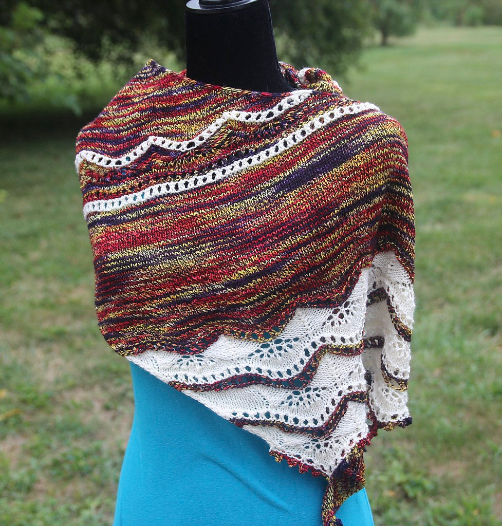 Chamomille Shawl Kit (1 skein each of Sunset Nightshade & Natural Superfine Fingering)