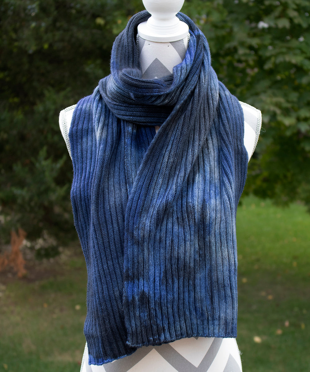 Blue Jeans Hand dyed Double Ribbed Scarf