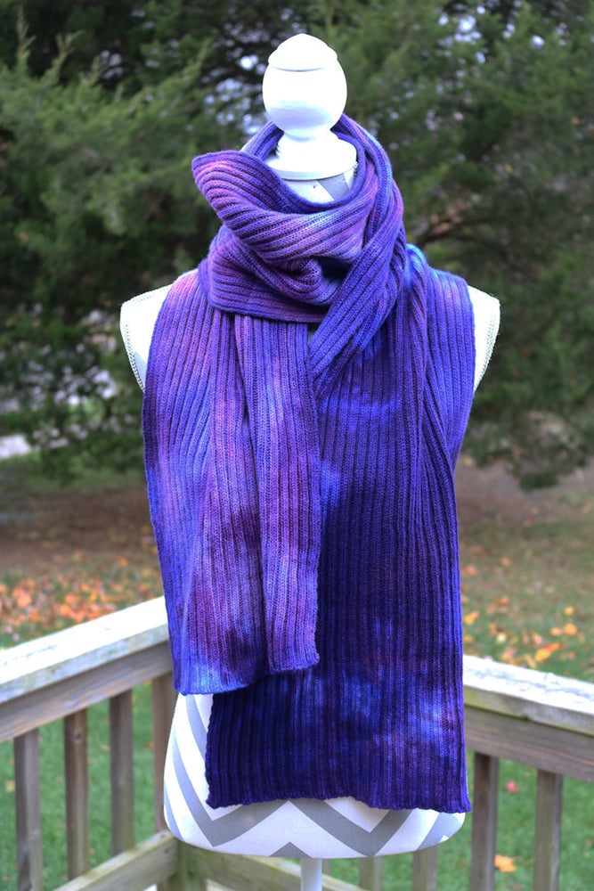 Blueberry Hand dyed Double Ribbed Scarf