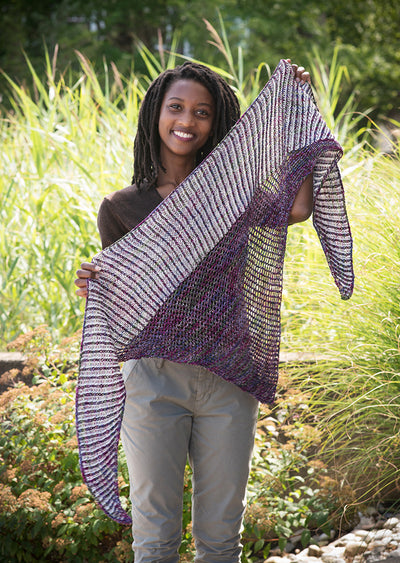 Bryant Shawl Kit (1 skein each of Geranium Nightshade & Natural Superfine Fingering)