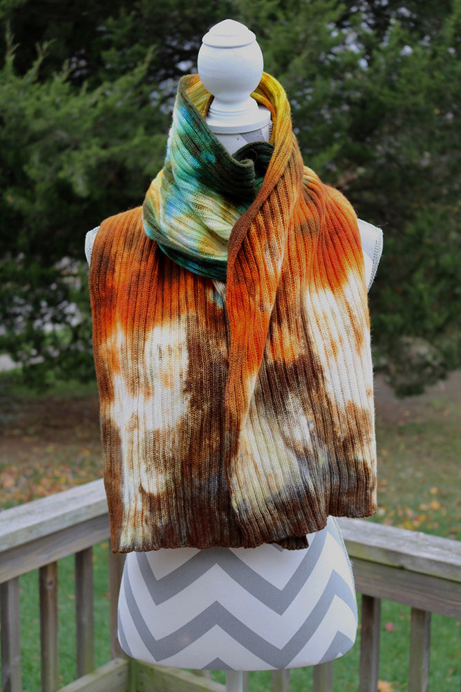Caribbean Cruise Hand dyed Double Ribbed Scarf