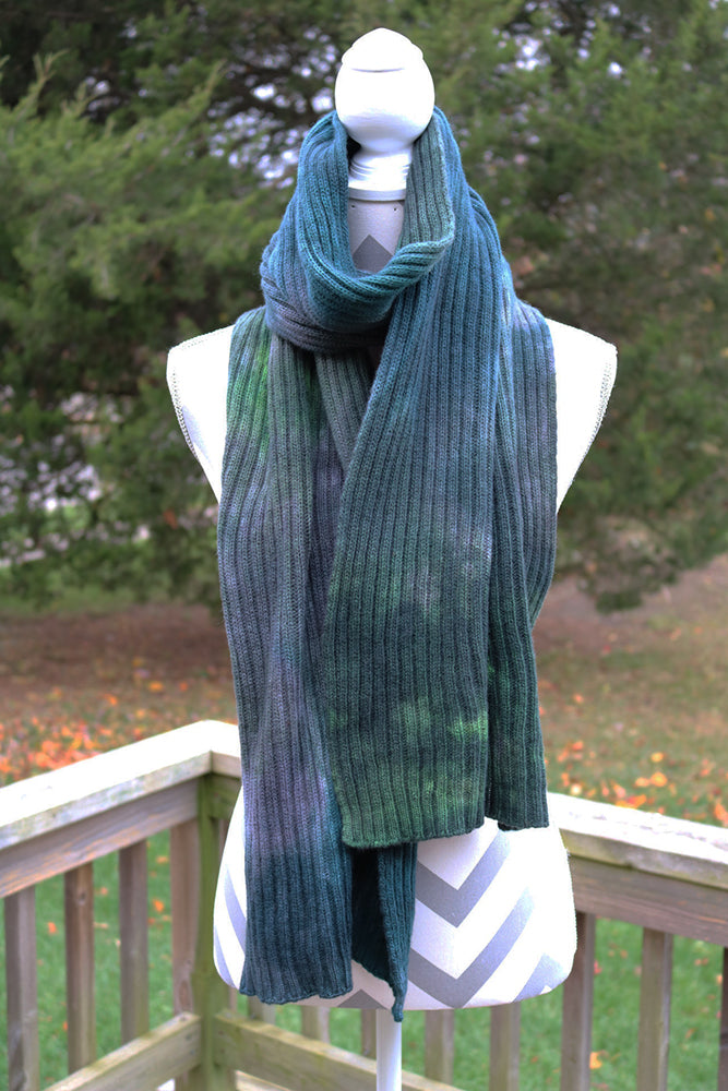 Forest Hand dyed Double Ribbed Scarf