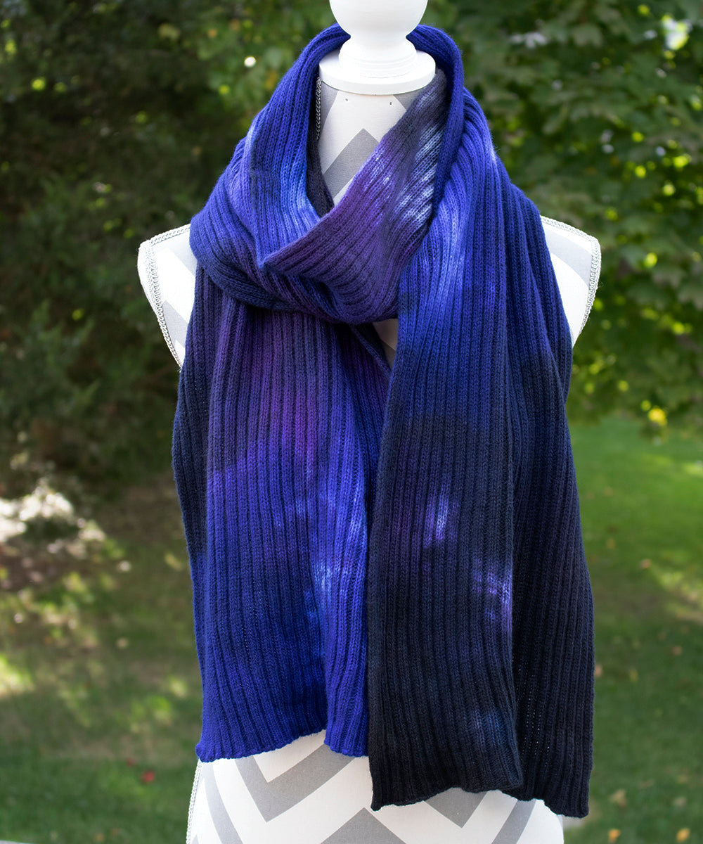 Midnight Stroll Hand dyed Double Ribbed Scarf