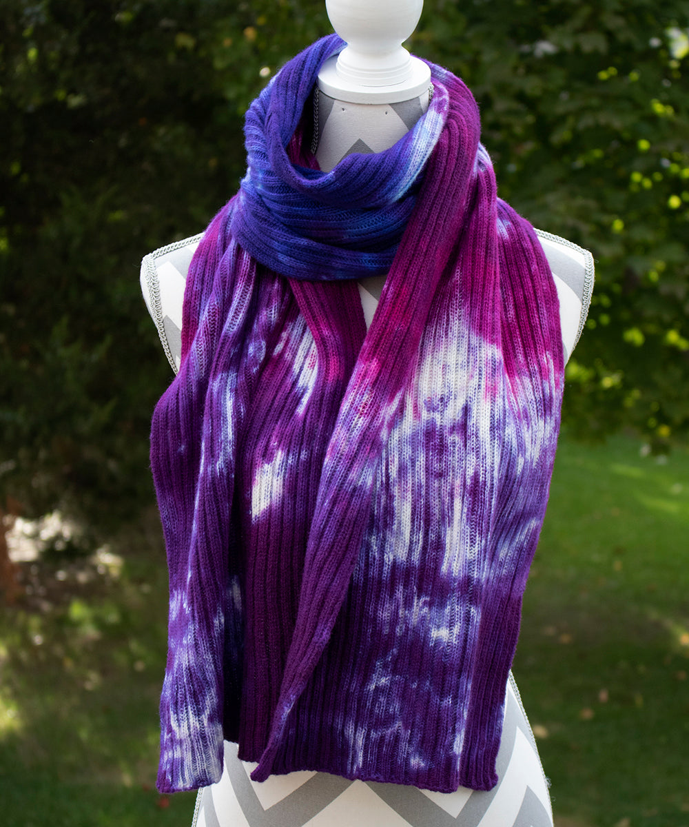 Paintbox Hand dyed Double Ribbed Scarf