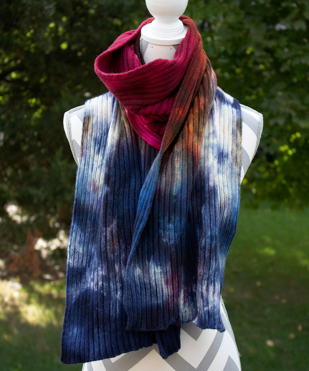 Peacock Hand dyed Double Ribbed Scarf