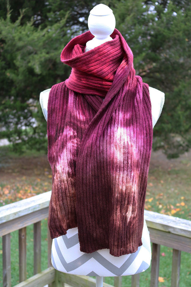 Raspberry Hand dyed Double Ribbed Scarf