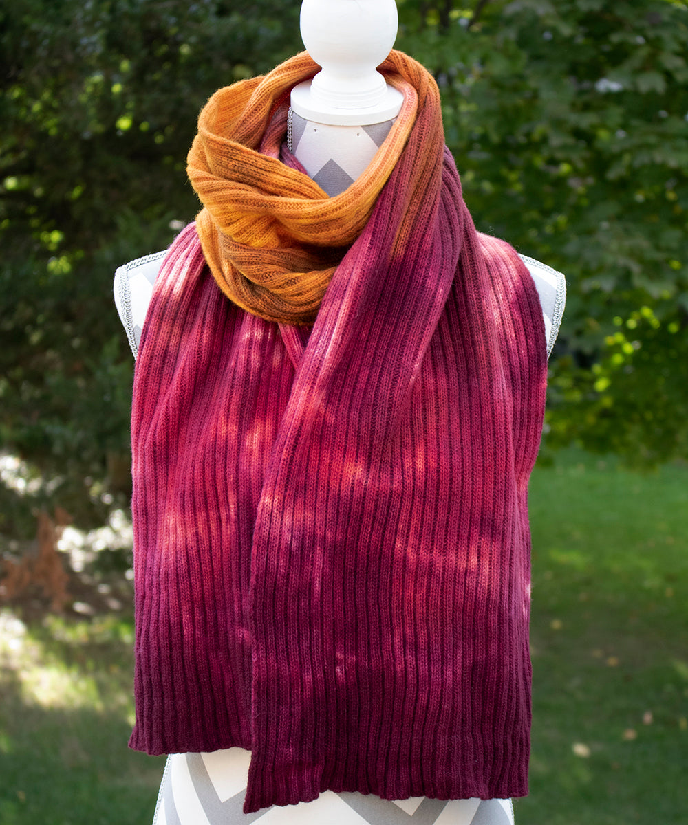 Razzle Dazzle Hand dyed Double Ribbed Scarf