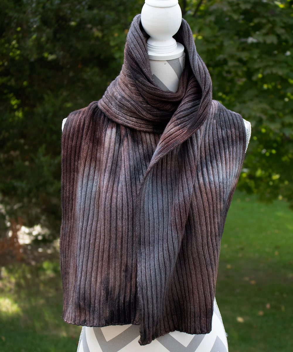 Wrought Iron Hand dyed Double Ribbed Scarf