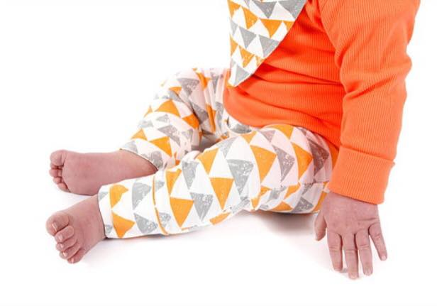 Tiny Tot Tribe leggings- Orange and grey