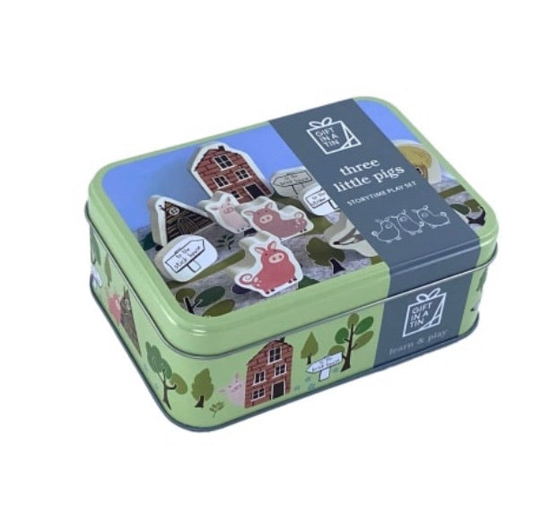 Three little pigs story time tin